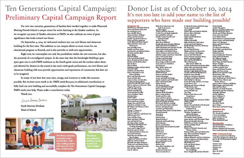 PMFS Capital Campaign brochure inside