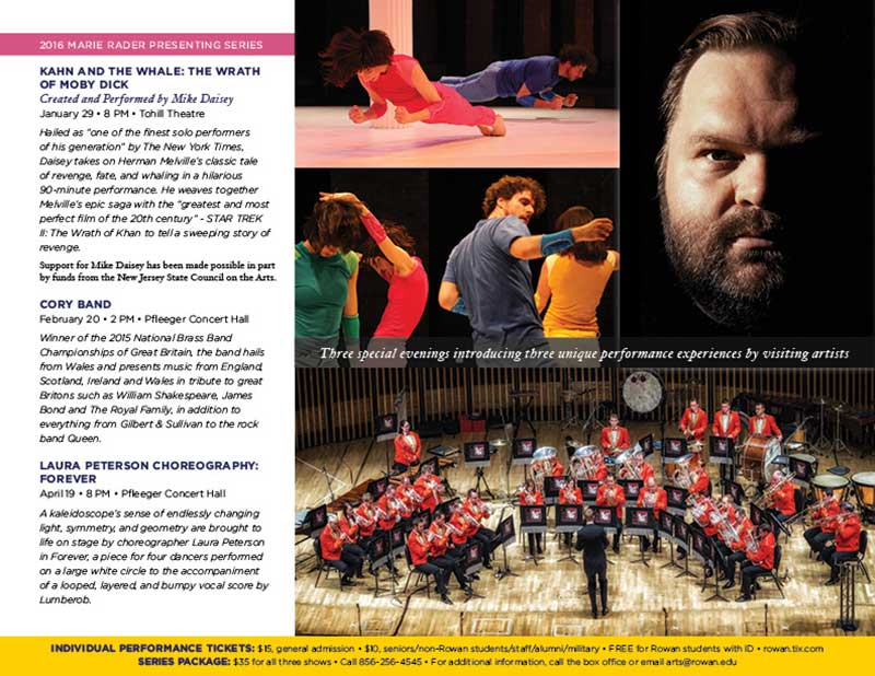 Rowan University Spring Performing Arts brochure center spread