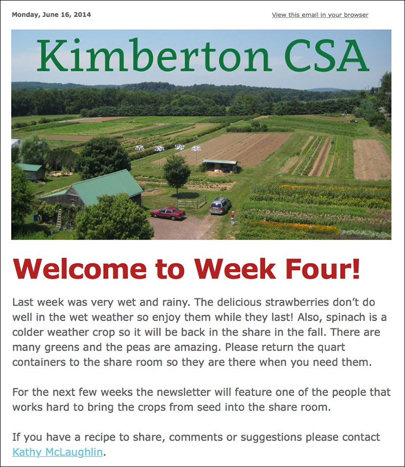Kimberton Community Supported Agriculture weekly newsletter