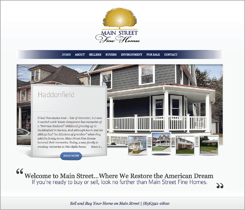 Main Street Fine homes website