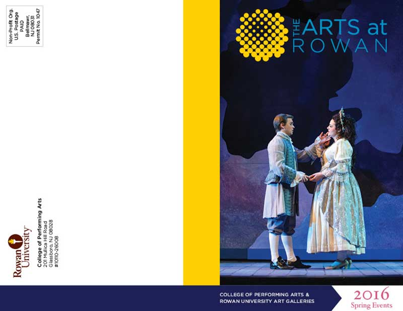 Rowan University Spring Performing Arts brochure cover