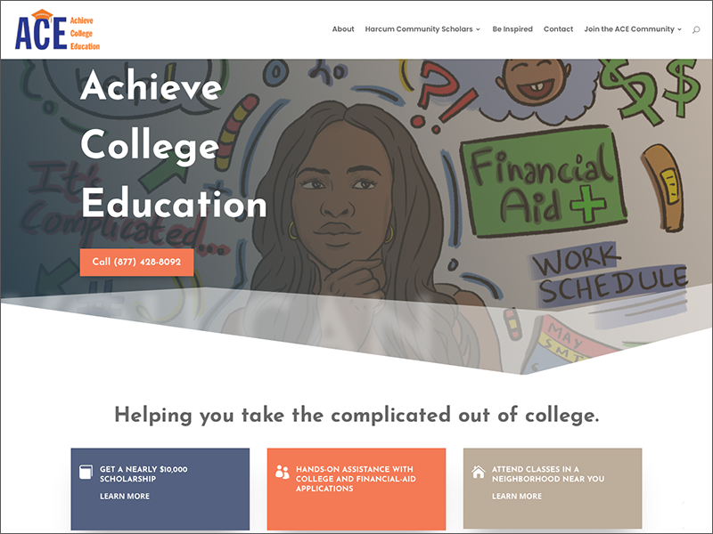 Achieve College Education home page